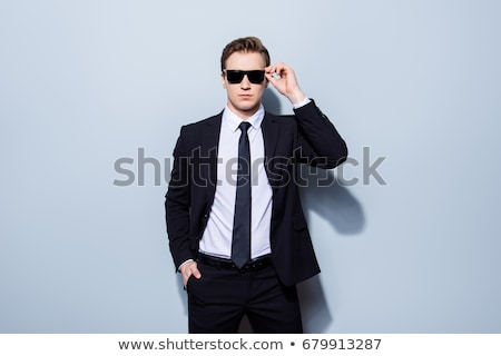 Сток-фото: бизнесмен · телохранитель · изолированный · белый · моде · безопасности