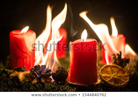 Advent wreath with burning red candles Stock photo © w20er