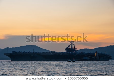 aircraft carrier in sunset stock photo © meinzahn