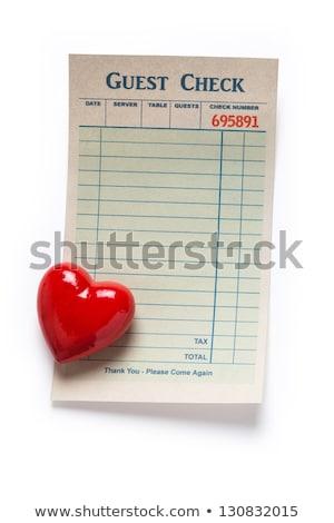 Gast controleren Rood hart valentijnsdag restaurant Stockfoto © devon