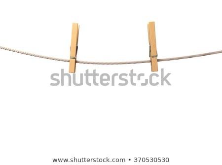 Dwa puste papieru zauważa wiszący liny ubrania Zdjęcia stock © stevanovicigor