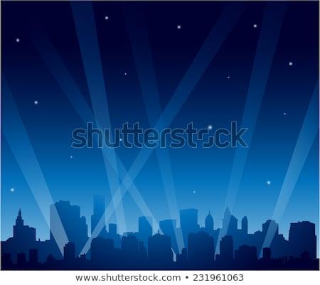 Reflektor város rajz városkép sziluett éjszaka Stock fotó © blamb