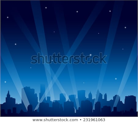 gece · siluet · şehir · gece · ay - stok fotoğraf © blamb