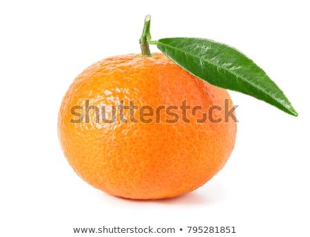 Rijp smakelijk mandarijn geïsoleerd witte blad Stockfoto © natika