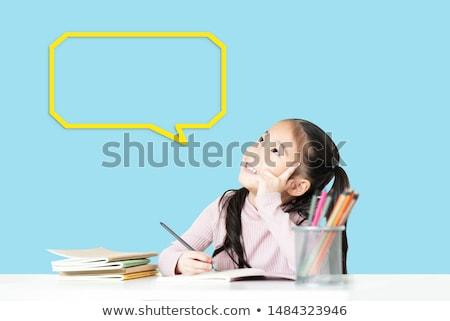 dziewczyna · rysunek · zielone · Tablica · widok · z · tyłu · edukacji - zdjęcia stock © romvo