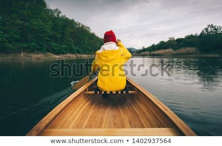 Indiano menina canoa ilustração água lago Foto stock © adrenalina