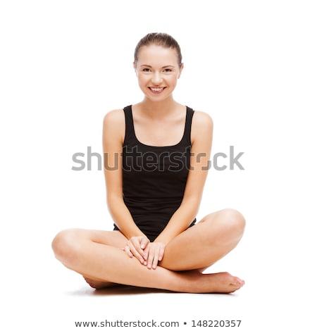 seksueel · brunette · sofa · mooie · ondergoed · gezicht - stockfoto © ssuaphoto