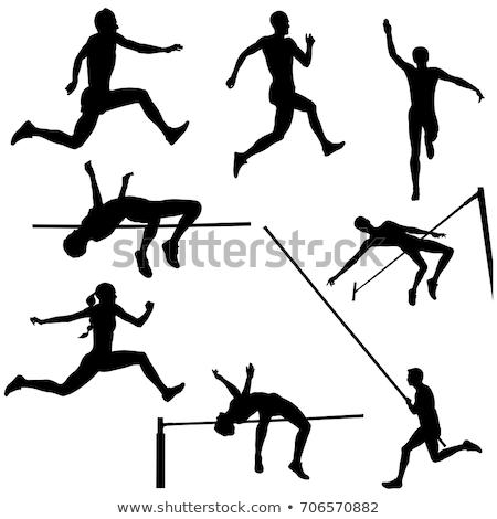 Man hoogspringen sport track veld vergadering Stockfoto © leonido