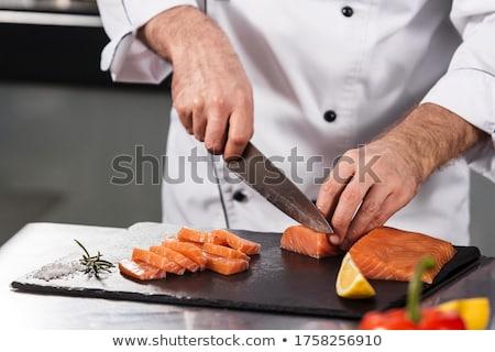 повар · Кука · мяса · кухне · стороны · красный - Сток-фото © oleksandro
