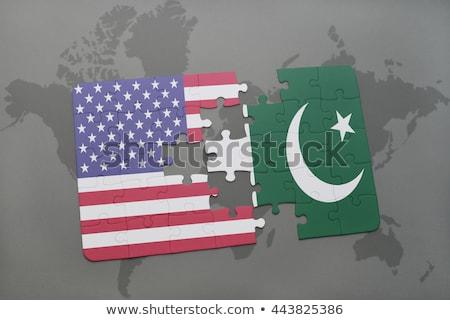 USA Pakisztán zászlók puzzle vektor kép Stock fotó © Istanbul2009