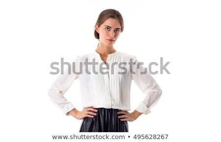 Atraente mulher jovem blusa branca preto saia escuro Foto stock © dashapetrenko