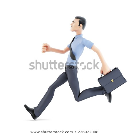 Stock photo: Businessman running with briefcase. Isolated, contains clipping path