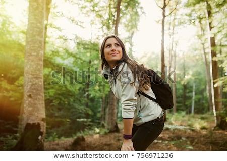 Vrouw bos gelukkig dag glimlach Stockfoto © fotorobs