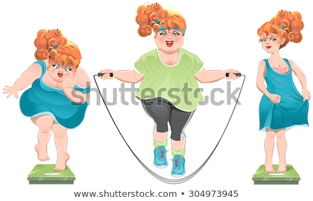 Fat woman stares at the scales. She lost weight. Thin red-haired girl standing on the scales Stock photo © orensila