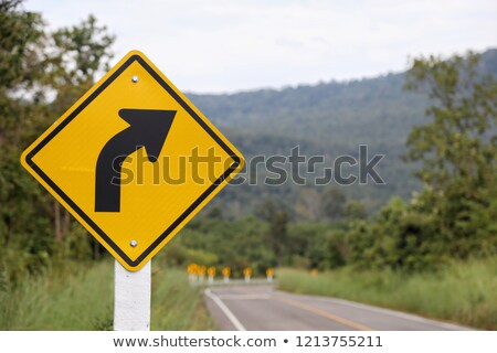 Veszélyes hajlatok felirat hegy út tél Stock fotó © homydesign