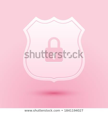 Shield Sign Pink Vector Button Icon Stock photo © rizwanali3d