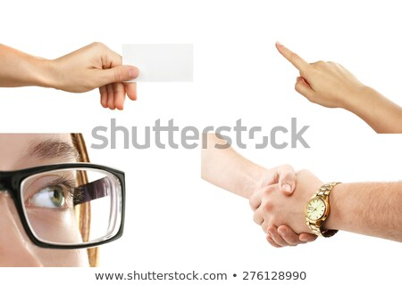 Geschäftsfrau Handshake isoliert Stock foto © dgilder