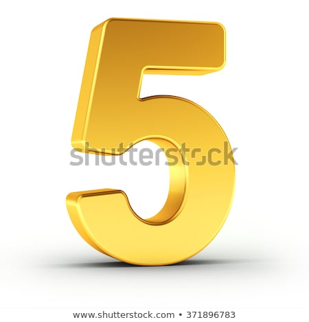 The number five as a polished golden object with clipping path Stock photo © creisinger