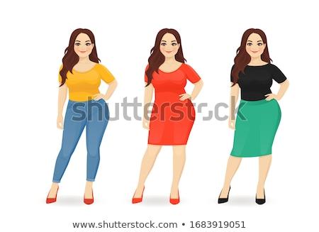plus size attractive girl in dress vector illustration stock photo © carodi