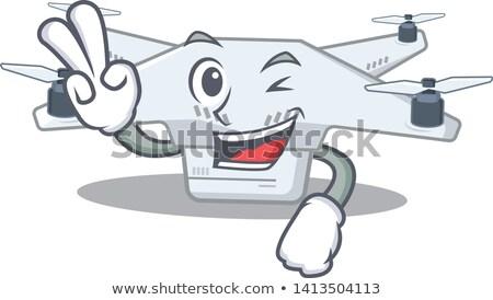 Mascote observação câmera indicação dedo ilustração Foto stock © lenm