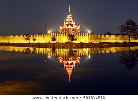 Fort or Royal Palace in Mandalay at night Stock photo © Mikko