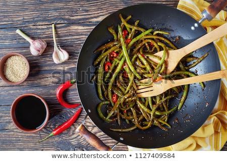 Groene bonen koekenpan voedsel plantaardige snack Stockfoto © Digifoodstock
