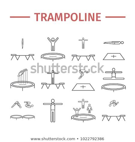 Ginástica trampolim ícones ilustração esportes projeto Foto stock © bluering