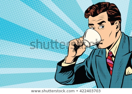 retro man drinking coffee stock photo © studiostoks