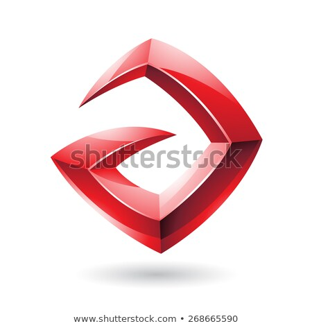 Stock photo: 3d Sharp Glossy Red Logo Icon based on Letter A