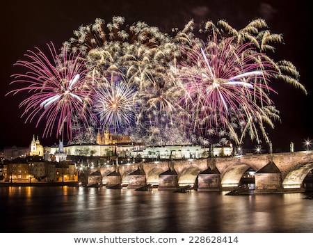 Stock photo: Charles bridge, New Year''s Eve in Prague, Czech Republic