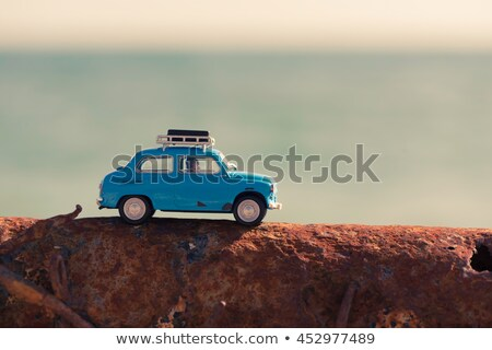 Vintage toy car parked near the sea. Travel concept Stock photo © Kirill_M