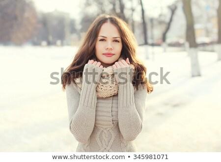 Bella donna maglione sciarpa isolato Foto d'archivio © deandrobot