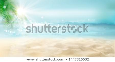 Photo stock: Sunrise · tropicales · mer · sable · plage · bateaux