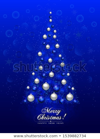 Christmas tree made of snowflakes blizzard in the darkness Stock photo © SwillSkill
