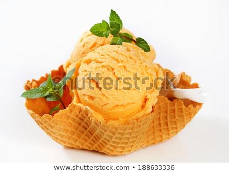 Narancs fagylalt waffle kosár édes Stock fotó © Digifoodstock