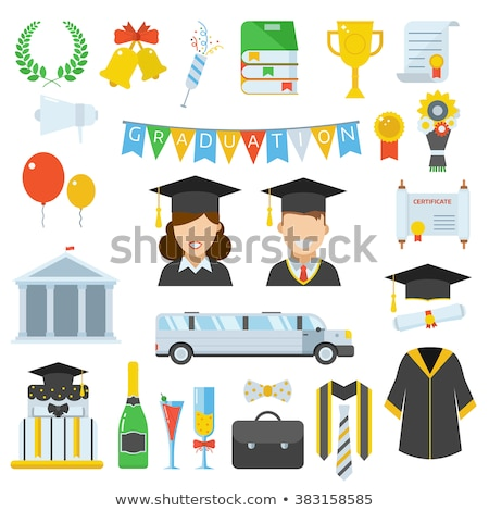 Congratulations sign with girl in graduation gown Stock photo © bluering