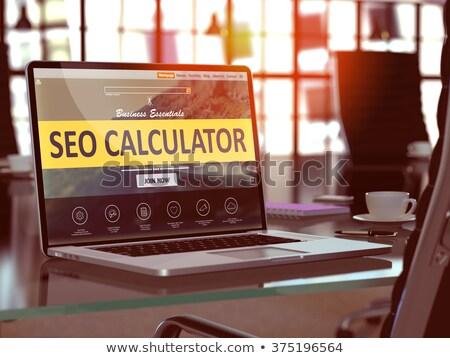 Aterrissagem página laptop seo calculadora 3d render Foto stock © tashatuvango