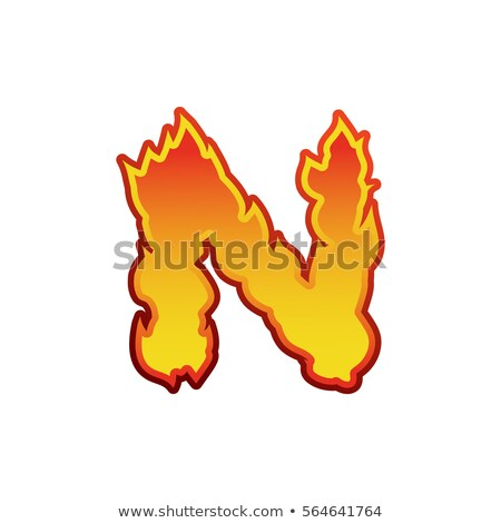 Letter N fire. Flames font lettering. Tattoo alphabet character. Stock photo © popaukropa