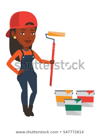 Black Painter Decorator Cartoon Character Stock photo © Krisdog