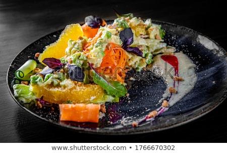 Retek uborka saláta narancs tál szeletek Stock fotó © Digifoodstock