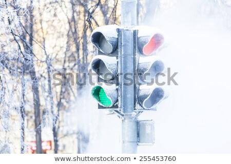 Czerwone światło śniegu czerwony zimą streszczenie krajobraz Zdjęcia stock © romvo