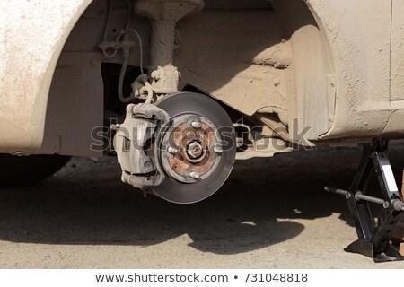Closeup shot of car's disc brake without wheel on it Stock photo © Nobilior