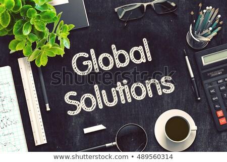 black chalkboard with global solutions 3d rendering stock photo © tashatuvango