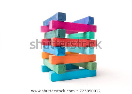 Hight colorful chalks tower Stock photo © deandrobot