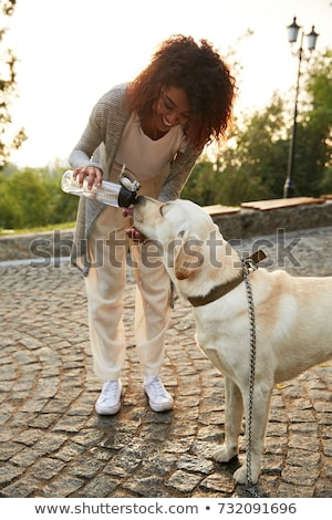 Young careless lady giving water to her pet in park Stock photo © deandrobot