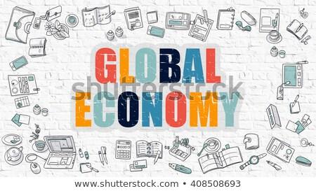 Globale economia bianco muro di mattoni doodle icone Foto d'archivio © tashatuvango