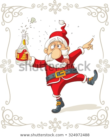 Merry Christmas. Fun Drunk Santa Claus holding bottle of champagne Stock photo © orensila