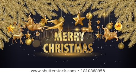 christmas background with typography and shiny glittered snowflake and holiday light garland on blac stock photo © articular
