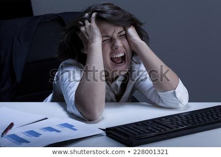 Colère femme d'affaires larmes cheveux sur stress Photo stock © alexanderandariadna