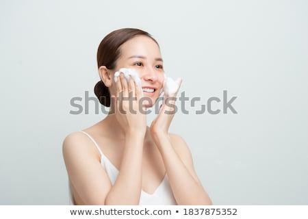 Foto stock: Menina · espuma · bastante · banho · feliz
